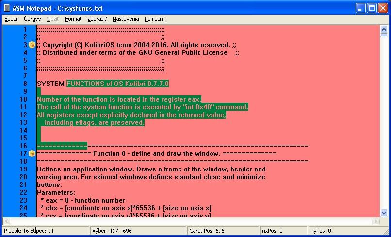Obrázok textového poľa AsmEdit.